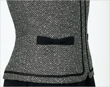 en joie(アンジョア) 81680 [通年]上品なミックスツイードで優しい印象のノーカラージャケット 黒リボンでかわいくまとめたポケット