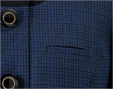 en joie(アンジョア) 81730 [秋冬用]知的エレガンスで高級感のあるブルーツイード素材ジャケット ネームプレートとペンなどを区分け収納できる名札ポケットと左胸ポケット