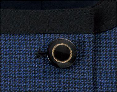 en joie(アンジョア) 81730 [秋冬用]知的エレガンスで高級感のあるブルーツイード素材ジャケット ゴールドリングのデザインの黒ボタン