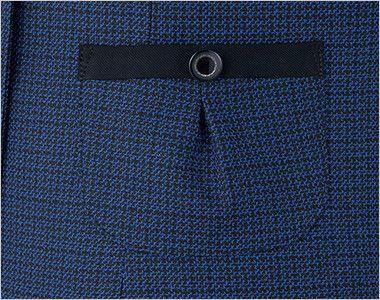 en joie(アンジョア) 81730 [秋冬用]知的エレガンスで高級感のあるブルーツイード素材ジャケット 黒テープとボタンでかわいいタックポケット付き