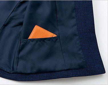 en joie(アンジョア) 81730 [秋冬用]知的エレガンスで高級感のあるブルーツイード素材ジャケット メモ帳などを入れられる隠しポケット付き