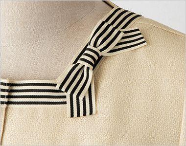 en joie(アンジョア) 86370 [春夏用]モダンなボーダー×ミルクティーのような色合いのサマージャケット(ブローチ付) 取り外し出来るブローチは左前がおすすめ
