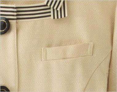 en joie(アンジョア) 86370 [春夏用]モダンなボーダー×ミルクティーのような色合いのサマージャケット(ブローチ付) ネームプレートとペンなどを区分け収納できる名札ポケット付き