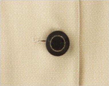 en joie(アンジョア) 86370 [春夏用]モダンなボーダー×ミルクティーのような色合いのサマージャケット(ブローチ付) ゴールドリングのデザインの黒ボタン
