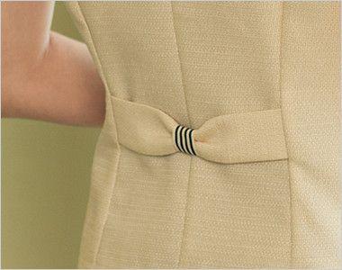 en joie(アンジョア) 86370 [春夏用]モダンなボーダー×ミルクティーのような色合いのサマージャケット(ブローチ付) かわいいリボン風の背ベルト