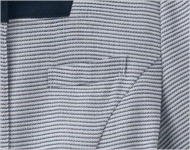 en joie(アンジョア) 86415 [春夏用]スクエア襟×ネイビーの配色!ボーダー柄のサマージャケット ネームプレートとペンなどを区分け収納できる名札ポケット付き