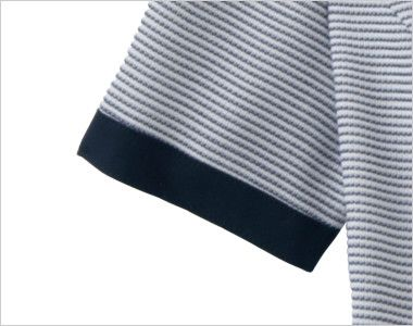 en joie(アンジョア) 86415 [春夏用]スクエア襟×ネイビーの配色!ボーダー柄のサマージャケット ネイビーで引き締めた半袖