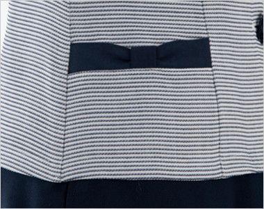 en joie(アンジョア) 86415 [春夏用]スクエア襟×ネイビーの配色!ボーダー柄のサマージャケット リボンのようなデザインがかわいいポケット付き