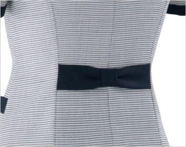 en joie(アンジョア) 86415 [春夏用]スクエア襟×ネイビーの配色!ボーダー柄のサマージャケット かわいいリボン風の背ベルト