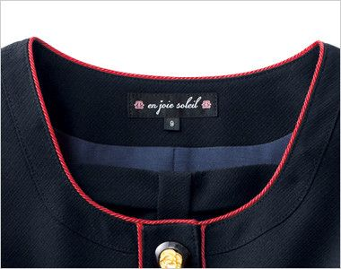 en joie(アンジョア) 86460 [春夏用]清楚で上品なジャケット(胸元リボン付き) 無地 取外しできる胸元リボンとレッドのパイピングが丸い