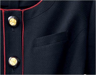 en joie(アンジョア) 86460 [春夏用]清楚で上品なジャケット(胸元リボン付き) 無地 ネームプレートとペンなどを区分け収納できる名札ポケット付き