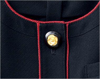 en joie(アンジョア) 86460 [春夏用]清楚で上品なジャケット(胸元リボン付き) 無地 花びらのようなかわいいゴールドの黒ボタン