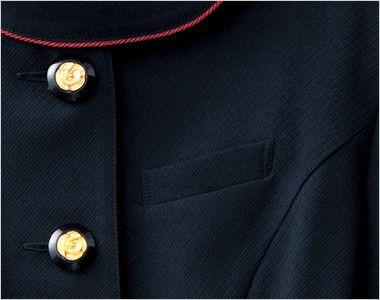 en joie(アンジョア) 86465 [春夏用]丸みのあるアシンメトリーの襟が優しいサマージャケット 無地 ネームプレートとペンなどを区分け収納できる名札ポケット付き