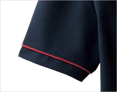 en joie(アンジョア) 86465 [春夏用]丸みのあるアシンメトリーの襟が優しいサマージャケット 無地 赤いパイピングが引き立つ
