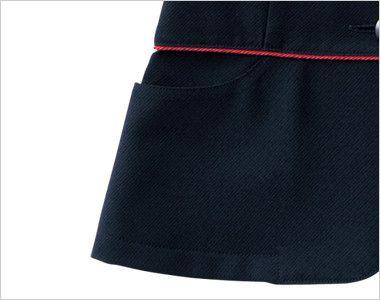 en joie(アンジョア) 86465 [春夏用]丸みのあるアシンメトリーの襟が優しいサマージャケット 無地 丸いカットのポケット付き