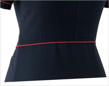 en joie(アンジョア) 86465 [春夏用]丸みのあるアシンメトリーの襟が優しいサマージャケット 無地 ペプラムで後ろ姿もかわいく