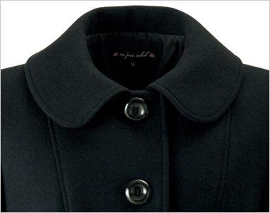 en joie(アンジョア) 9000 上質な紡毛糸で暖かく肌さわりのよいロング丈コート 無地 可憐な印象の大きな丸い襟元