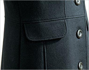 en joie(アンジョア) 9000 上質な紡毛糸で暖かく肌さわりのよいロング丈コート 無地 かわいいフラップデザイン(ポケットではありません)