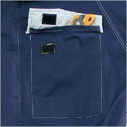 3291 カジメイク レインツナギ(男女兼用) 防水性を考慮したポケット口がプリーツ仕様のフラップポケット