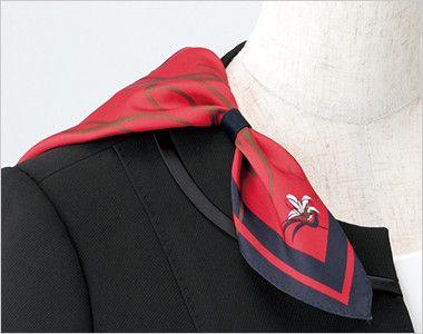 ENJOY EAJ513 [通年]ノーカラージャケット 無地 衿もとにスカーフのズレを防ぐループが付いています。ワンタッチで形が決まります。