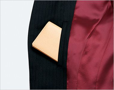 EAJ518 enjoy ロングジャケット ストライプ 名刺ポケット