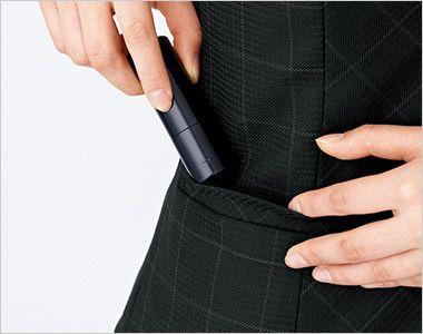 EAJ526 enjoy ジャケット チェック 右側ハンコポケット