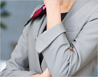 EAJ575 enjoy ジャケット 無地 袖口の折り返し