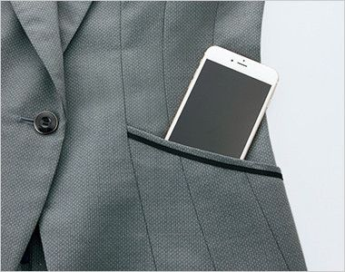 EAJ581 enjoy [通年]着痩せ効果がありストレッチで疲れにくいドット柄ジャケット 大容量ポケット