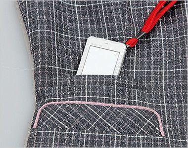 ENJOY EAV483 [通年]まるで襟付きのような上品で可愛らしいチェック柄ベスト PHS対応チェンジポケット
