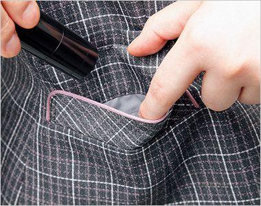 ENJOY EAV483 [通年]まるで襟付きのような上品で可愛らしいチェック柄ベスト ハンコポケット