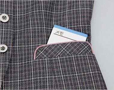 ENJOY EAV483 [通年]まるで襟付きのような上品で可愛らしいチェック柄ベスト 大容量ポケット