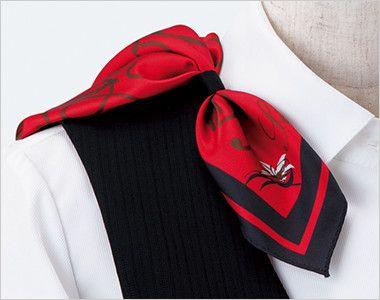 ENJOY EAV519 [通年]ベスト ストライプ 衿もとにスカーフのズレを防ぐループが付いています。ワンタッチで形が決まります。
