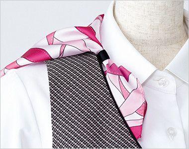 EAV531 enjoy ベスト チェック 衿もとにスカーフのズレを防ぐループが付いています。ワンタッチで形が決まります。