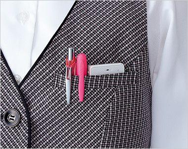 EAV531 enjoy ベスト チェック Wネームループ付き左胸ポケット