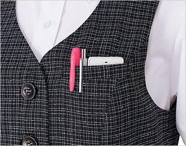 ENJOY EAV684 [通年]大人テイストに着こなせるツイード調の愛らしいベスト PHS対応の補強ポケット