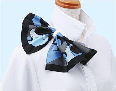 ESB494 enjoy 肌に優しいソフトタッチの半袖シャツブラウス[制菌/防透/吸汗速乾/防臭] 衿もとにスカーフのズレを防ぐループが付いています。ワンタッチで形が決まります。