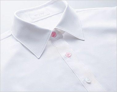 ESB494 enjoy 肌に優しいソフトタッチの半袖シャツブラウス[制菌/防透/吸汗速乾/防臭] 2色から選ぶ