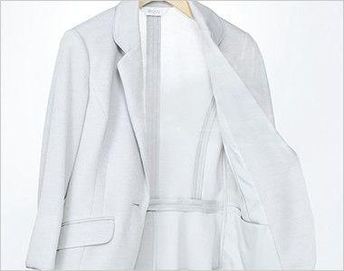 ESJ552 enjoy ノーカラージャケット 無地 空気と熱が通る素材&半背裏袖裏なしの夏仕様