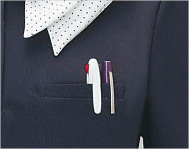 ESP403 enjoy [春夏用]マリン風ドットの爽やかアクセントが魅力的なオフィスポロシャツ(スカーフ付) 無地 便利なポケット
