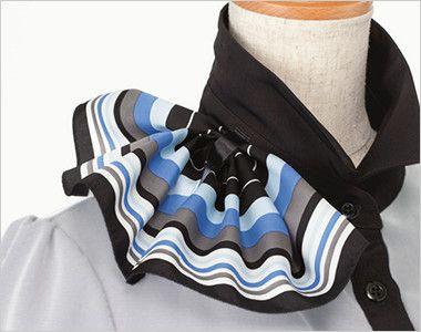 ESP453 enjoy [春夏用]これ1枚でエレガントに決まるキレイめオフィスポロシャツ(ミニスカーフつき) 衿もとにスカーフのズレを防ぐループが付いています。ワンタッチで形が決まります。