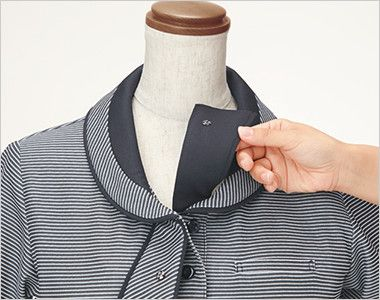 ESP556 enjoy [春夏用]気品あふれるサマースタイル×知的なマリンテイスト オフィスポロシャツ ボーダー ミニアスコットタイ