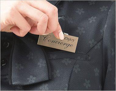 ESP558 enjoy [春夏用]上品でスウィート!オフィスが華やぐ花柄マジック オフィスポロシャツ モノグラム Wネームループ付きポケット