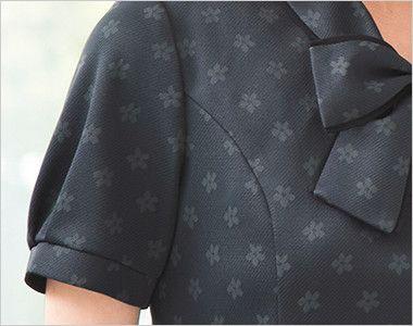 ESP558 enjoy [春夏用]上品でスウィート!オフィスが華やぐ花柄マジック オフィスポロシャツ モノグラム パフスリーブ