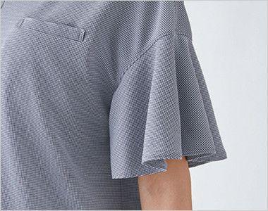 ESP782 enjoy [春夏用]ラッフルスリーブで上品フェミニンなノーカラーポロシャツ[ストレッチ/制菌/吸汗速乾]