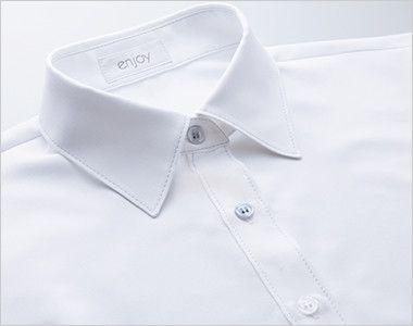 EWB484 enjoy [通年]肌に優しいソフトタッチで透けにくく1枚着でも安心な長袖シャツブラウス[制菌/防透/吸汗速乾/防臭] カラーステッチ&ボタン