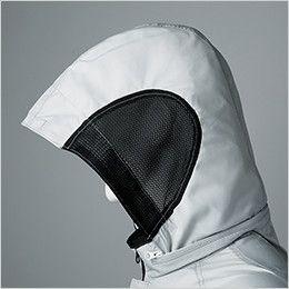 258611SET クロダルマ エアーセンサー 長袖ジャンパー フードサイドは通気性の良いメッシュ素材を採用