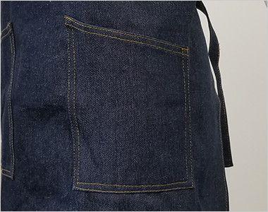 47224 クロダルマ デニムエプロン(ひも)綿100% 胸当て X型 ポケット