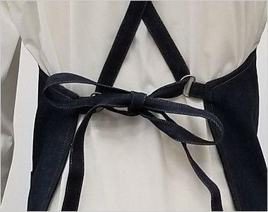 47224 クロダルマ デニムエプロン(ひも)綿100% 胸当て X型 蝶結びできる長さの肩ひも