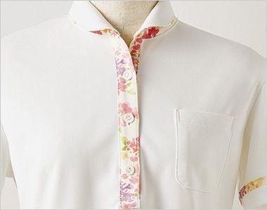 LW201 ローラ アシュレイ 半袖ニットシャツ ポロシャツ(女性用)NLK すっきりとした襟と前たての花柄が上品な印象