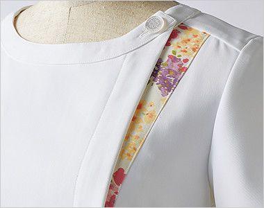 LW411 ローラ アシュレイ 半袖ナースワンピース(女性用) アシンメトリーの配色がアクセント